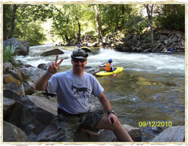Tim sportin' his mule at Nantahala Falls near Bryson, NC