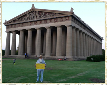 Nicholas gives The Mule some culture at Nashville's Parthenon